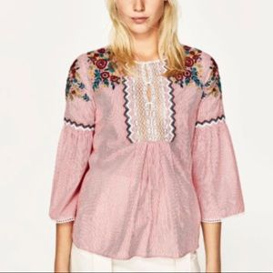 Zara Basic Striped Embroidered Blouse
